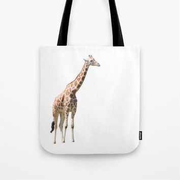 Art Tote beach Bag Giraffe photography summer Fashion photograph orange white background safari photo african animal print