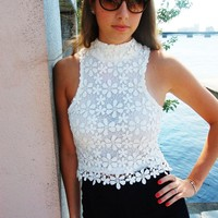 White Floral Crochet High Neckline Top with Zipper Back