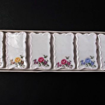 Shafford Japan Vintage Ceramic Place Settings Card Holders Six Floral