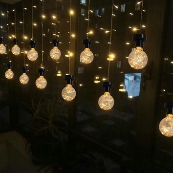 Vintage 0.8W Filament Copper Wire G80 LED Light Bulb E27 Base Ball Shape Decorative for Holiday Wedding Christmas Warm White