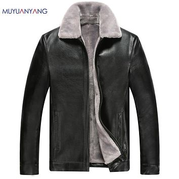 Winter Leather Jackets Men Motorcycle Jackets Overcoat Men's Casual Faux Fur Leather Jackets For Male Zipper Clothing