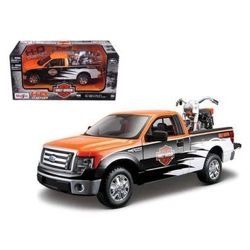 2010 Ford F-150 STX Harley Davidson Orange/White/Black 1/27 and 1/24 1958 FLH Duo Glide Motorcycle by Maisto