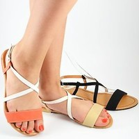 New Womens Sandals Strappy Gladiator Flat Shoe Slingback in Beige/White or Black