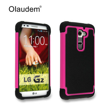 G2 High quality  Fashion Hard  Armor TPU + PC Hybrid Tough Phone Case For LG G2  Silicone Back Cover Rubber Protective Bag 73X