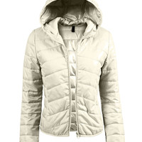 Womens Lightweight  Zip Up Puffer Jacket with Hood