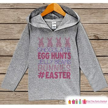 Girls Easter Outfit - #Easter Hoodie - Easter Bunny Spring Pullover - Baby Toddler Girls Easter Outfit - Easter Egg Hunt - Kids Grey Hoodie