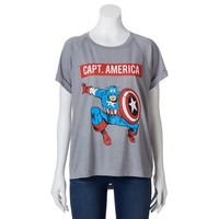 Freeze Marvel Comics High-Low ''Captain America'' Tee - Juniors, Size: