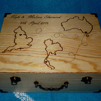 Custom Wedding Map Destination Wedding Box Wood Burned Wedding Keepsake Box Rustic Wedding Trunk Travel States Personalized Card Box
