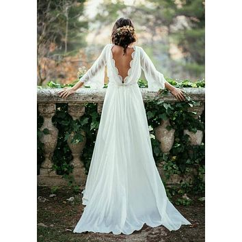 Long Sleeve Backless Bohemian Wedding Dresses 2017 Summer Court Train Ruched Chiffon Plus Size Beach Bridal Gowns