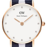 Women's Daniel Wellington 'Classy Glasgow' Crystal Index NATO Strap Watch, 26mm