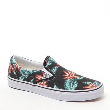 Vans Classic Slip-On Aloha Shoes - Mens Shoes - Black