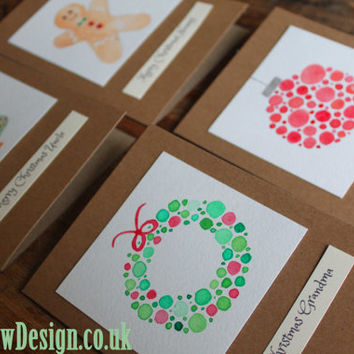 Custom Christmas Cards and Christmas Greeting Cards - 6 or 12 hand painted and hand made A6 size (148mm x 105mm) 300gsm cards