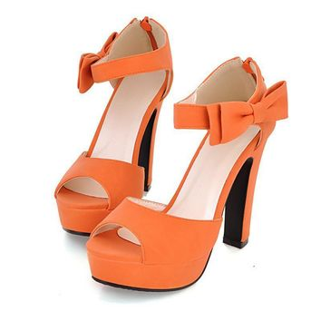 New summer Peep toe Ankle strap orange Sweet Thick high heel Sandals Platform Lady wom