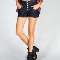 Almost Famous Womens Highwaisted Denim Shorts Dark Denim  In Sizes