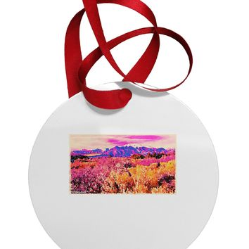 Colorful Colorado Mountains Circular Metal Ornament by TooLoud