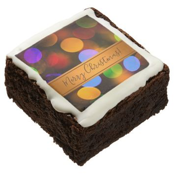 Multicolored Christmas lights. Add text or name. Chocolate Brownie