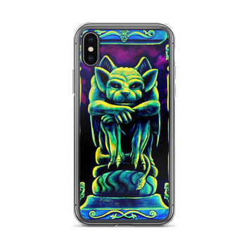 ALL sizes iPhone Cases Psychedelic Gothic Gargoyle by Vincent Monaco available for ALL iPhone models.