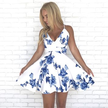 Fleurtatious Floral Skater Dress