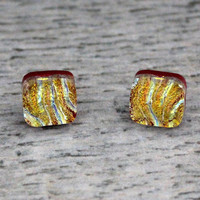 Yellow Wave Fused Dichroic Glass Stud Earrings, Fused Glass Jewelry, Dichroic Earrings, Dichroic Studs, Dichroic Jewelry