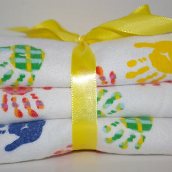 handmade gender neutral burp cloths set of three handprints