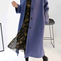 Basic Woolen Button-Front Coat