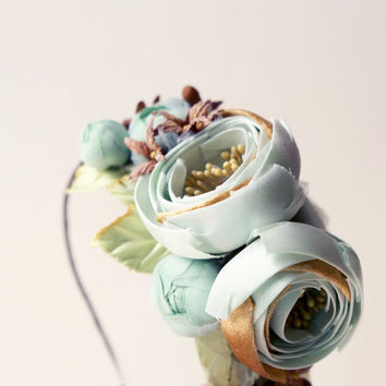 Flower headband, Teal floral fascinator, Aqua green bridal hair band, Wedding head piece - SUBTERRANEAN