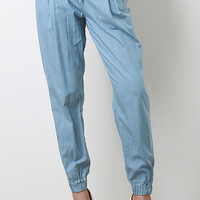 Pockets Chambray Jogger Pants