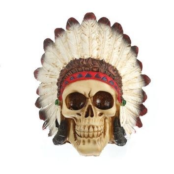 Skull Skulls Halloween Fall MRZOOT Resin Craft Statues For Decoration Indian Style  Creative Statue Sculpture Home Accessories Calavera