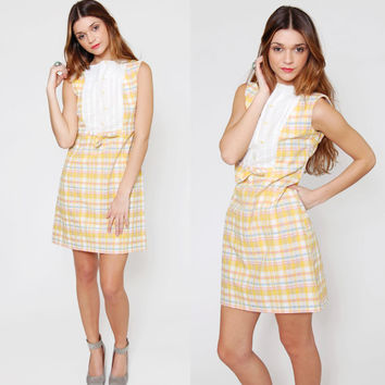 Vintage 60s PLAID Mini Dress Sleeveless with White Bib Mod PASTEL Scooter Dress