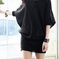 Black Dolman Sleeve Bodycon Dress