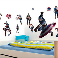Captain america design wall deacl Home decor cartoon wall sticker for kids room