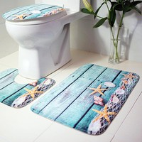 3Pcs Ocean Underwater World Anti Slip Bathroom Mat for Bathroom Toilet Carpet Rug