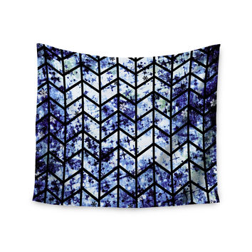 "Ebi Emporium ""Chevron Wonderland II"" Blue Black Wall Tapestry"