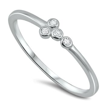 .925 Sterling Silver Sideways Cross Ladies and Kids Ring Size 2-10 CZ Midi