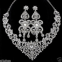 *WEDDING/BRIDAL/EVENING* SILVER DIAMANTE CRYSTAL NECKLACE EARRINGS TIKKA SET