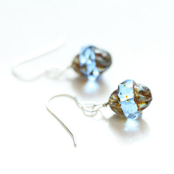 something blue glass wedding earrings / small blue earrings / bridal jewelry / clear blue czech glass earrings / minimalist earring