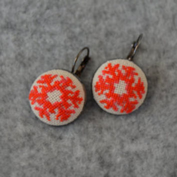 Earrings Handmade Snowflake Embroidery, jewelry, cotton, cross stitch earrings, gift, Christmas