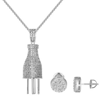 "Switch Plug Socket Pendant Iced Out 1.9"" Free Chain Cluster Set Earrings Chain"
