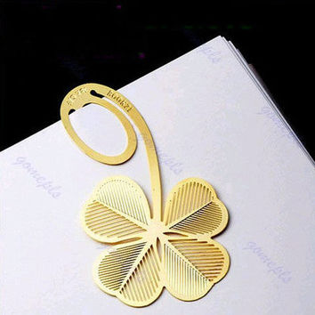 Four-leaf Clover Reading Metal Clip Bookmark Gift Book Mark For Kids
