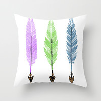 Feathers and Arrows Throw Pillow by Naturessol