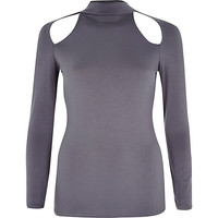 River Island Womens Grey cut out turtle neck top