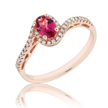Rubellite Tourmaline and Diamond Bypass Ring 1/5ctw
