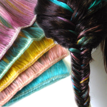 Rainbow Fishtail Braid Hair Extension Kit  wefts by IKickShins