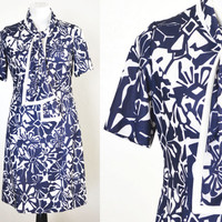 1960s Plus Size Shift Dress Navy and White Herbert Levy