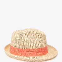 Lace-Trimmed Straw Fedora