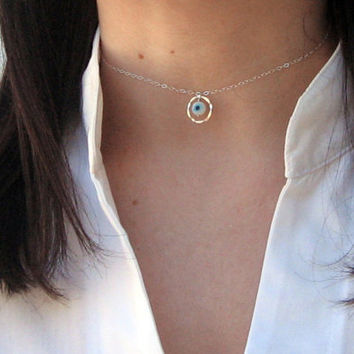 Eternity Choker, Evil Eye Choker, 925 Sterling Silver, Dainty Choker Necklace, Short Necklace, Hammered Circle Choker, Gift Under 25