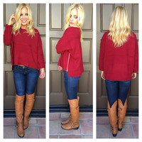 Bonfire Nights Zipper Detailed Sweater - RED - ONE