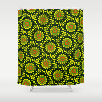 Cute ethnic floral pattern Shower Curtain by Natalia Bykova | Society6
