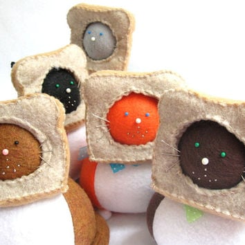 Breading InBread Fat Cat Pin Cushion - cute felt kitty cat collectable or Gift for animal lover Gift for sewer - Pick Your Cat COLOR - MTO