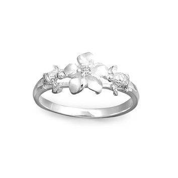 925 Sterling Silver CZ Flower Ring 9MM